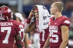 Arkansas quarterback Nick Starkel (17) is shown on the sideline during a game against Texas A&M on Saturday, Sept. 28, 2019, in Arlington, Texas. Starkel was injured the second quarter of the game and did not return.