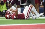 Arkansas tight end Cheyenne O'Grady is shown after a fourth down pass was incomplete in the final minute of the Razorbacks' 31-27 loss to Texas A&M on Saturday, Sept. 28, 2019, in Arlington, Texas.