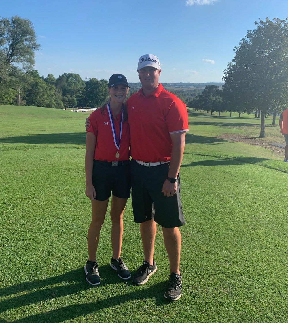 Lindsey (left) with MHS Golf Coach Bobby Beeson.