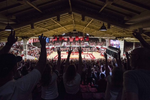 Fans call the Hogs on Saturday, Oct. 5, 2019, during the annual Arkansas Red-White Game at Barnhill Arena in Fayetteville.