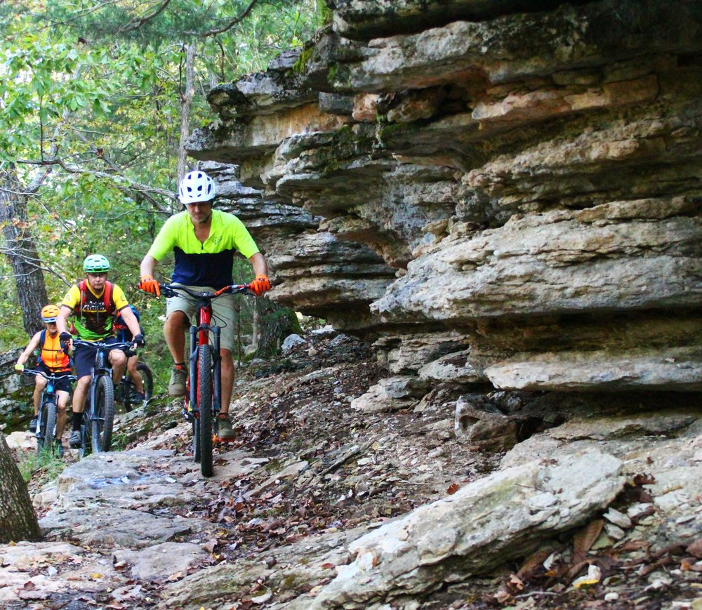 Tommy Farris, Randy Jackson, Michele Jackson, and Chris Griffin exploring the Karst bluff Sept. 27 at Hobbs State Park-Conservation Area's Monument Trail. (Special to the Democrat-Gazette/BOB ROBINSON)