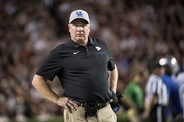 Kentucky head coach Mark Stoops stands on the sideline during an NCAA college football game against South Carolina Saturday, Sept. 28, 2019, in Columbia, S.C. South Carolina defeated Kentucky 24-7. (AP Photo/Sean Rayford)