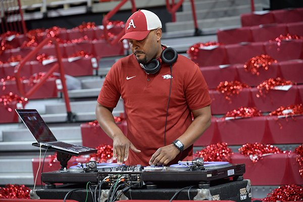 DJ Derrick performs prior to a basketball game between Arkansas and Georgia on Tuesday, Jan. 29, 2019, in Fayetteville.