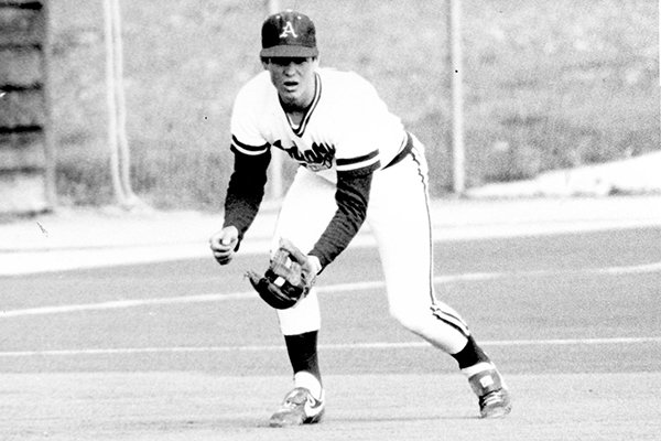 Arkansas third baseman Jeff King is shown during his playing days in the 1980s. King, who was the Razorbacks' first play selected first overall in the MLB Draft, will be inducted into the Southwest Conference Hall of Fame in November 2019.