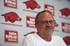 NWA Democrat-Gazette/J.T. WAMPLER Head coach Mike Neighbors speaks to the media Wednesday Oct. 9, 2019 at the Arkansas Basketball Performance Center.