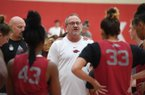 NWA Democrat-Gazette/J.T. WAMPLER Head coach Mike Neighbors talks to his squad during practice Wednesday Oct. 9, 2019 at the Arkansas Basketball Performance Center.