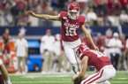 Arkansas kicker Connor Limpert attempts an extra point during a game against Texas A&M on Saturday, Sept. 28, 2019, in Arlington, Texas.