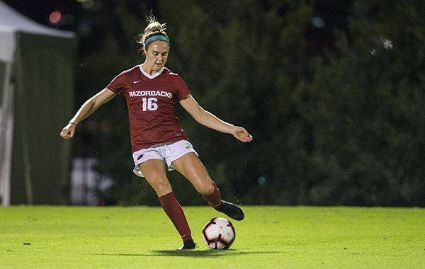 Arkansas freshman Anna Podojil is shown during a game against Vanderbilt on Thursday, Sept. 26, 2019, in Fayetteville.