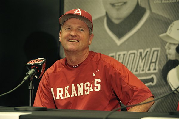 Arkansas coach Dave Van Horn is shown during a news conference Thursday, May 28, 2015, at Allie P. Reynolds Stadium in Stillwater, Okla.