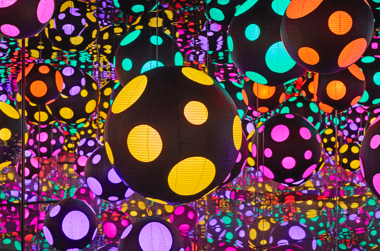 """Visitors to Kusama's spectacular """"Infinity Mirrored Room' get a very finite time inside"""