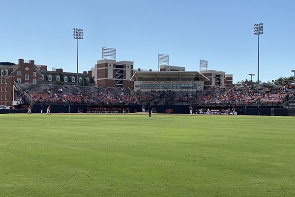 The crowd is shown during a baseball scrimmage between Arkansas and Oklahoma State on Saturday, Oct. 12, 2019, at Allie P. Reynolds Stadium in Stillwater, Okla.