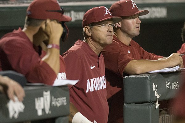 Arkansas coach Dave Van Horn watches during a scrimmage against Oklahoma on Friday, Sept. 20, 2019, in Fayetteville.