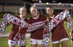 Arkansas players Anna Podojil (left), Reagan Swindall (center) and Kaelee Van Gundy celebrate after defeating Vanderbilt 1-0 on Thursday, Sept. 26, 2019, in Fayetteville.