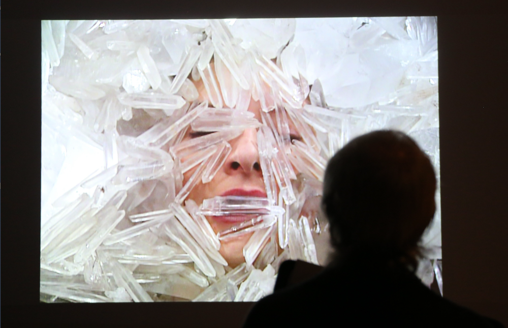 "Marina Abramovic's performance video ""Dozing Conciousness"" is part of ""Crystals in Art: Ancient to Today"" at Crystal Bridges Museum of Art. (NWA Democrat-Gazette/DAVID GOTTSCHALK)"
