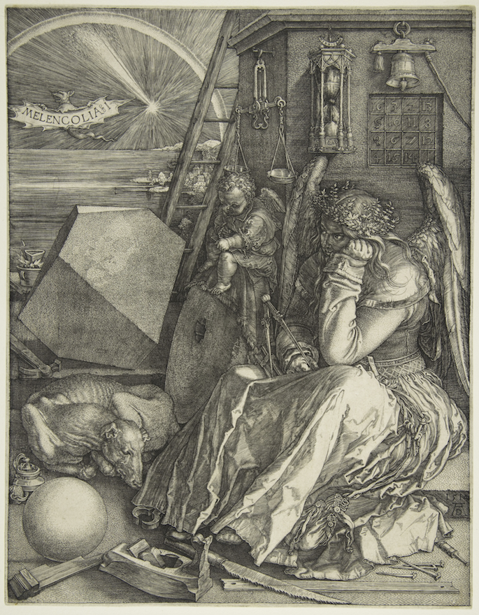 "Albretcht Durer's ""Melencolia I"" is an engraving that depicts a brooding angel with cools and what appears to be a crystal ball. (Courtesy The Metropolitan Museum of Art)"