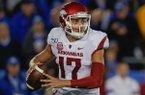 Arkansas quarterback Nick Starkel (17) during the NCAA college football game against Kentucky, Saturday, Oct. 12, 2019, in Lexington, Ky. (AP Photo/Bryan Woolston)