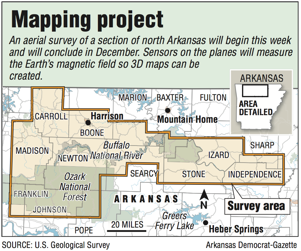 Airplanes set to map geology of north Arkansas