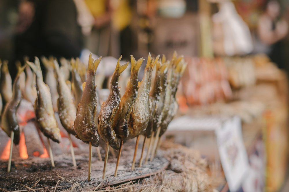 Food at the Awa Odori festival in Tokyo. (Photo by Irwin Wong via The Washington Post)