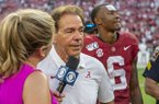 Alabama head coach Nick Saban talks with CBS after a 59-31 win over Ole Miss in an NCAA college football game, Saturday, Sept. 28, 2019, in Tuscaloosa, Ala. (AP Photo/Vasha Hunt)