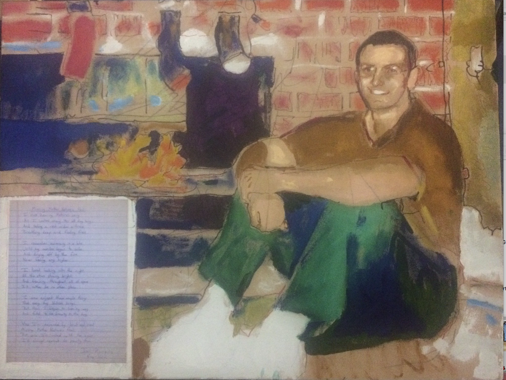"""John Kushmaul's """"Jon of New York"""" is an acrylic and mixed media portrait. (Courtesy Compassion Works for All)"""