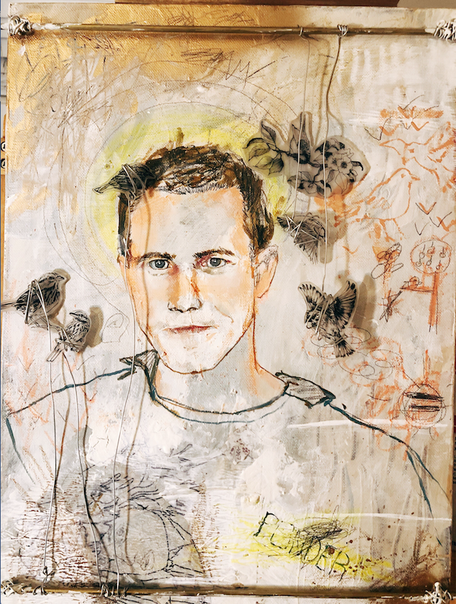"""Little Rock artist Milkdadd's mixed media portrait is created from acrylic paint, ink, oil, spray paint, metal, wire, copper piping and more. The title is """"My Name Is John Ponder."""" (Courtesy Compassion Works for All)"""