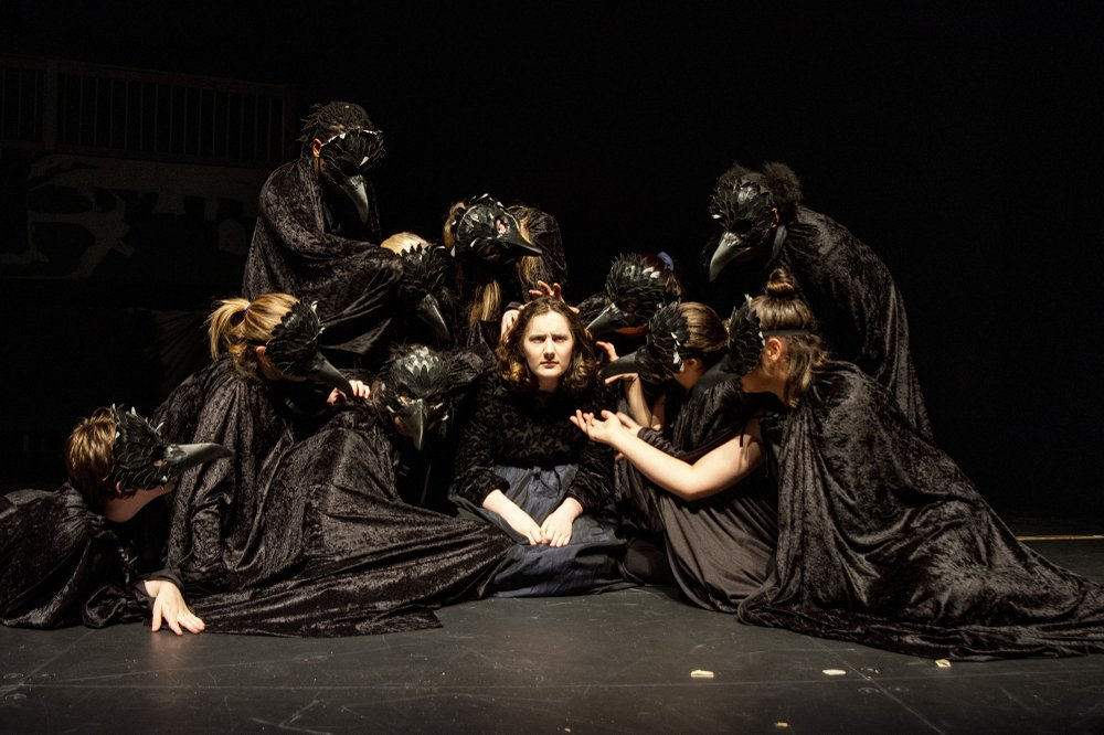 """In Maumelle High School's world-premiere production of I Am Frankenstein, the Blackbirds are a female chorus representing Mary Shelley's mind. """"They push the story, create the story, comment on the story,"""" says playwright John Haman. Arkansas Democrat-Gazette/Cary Jenkins"""