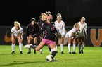 Arkansas' Parker Goins (22) scores on a penalty kick in the first half of the Razorbacks' game against Tennessee on Thursday, Oct. 31, 2019, in Knoxville, Tenn.