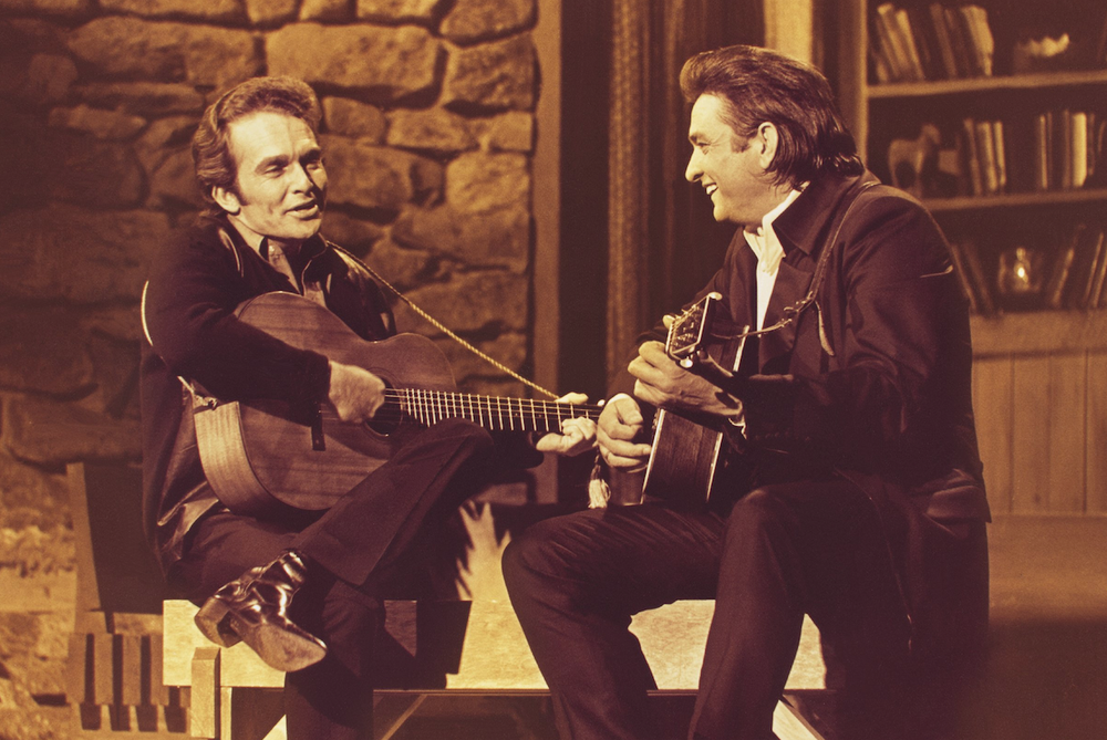 Merle Haggard (left) was a guest on Johnny Cash's TV show in 1969. (Courtesy Bear Family Records)