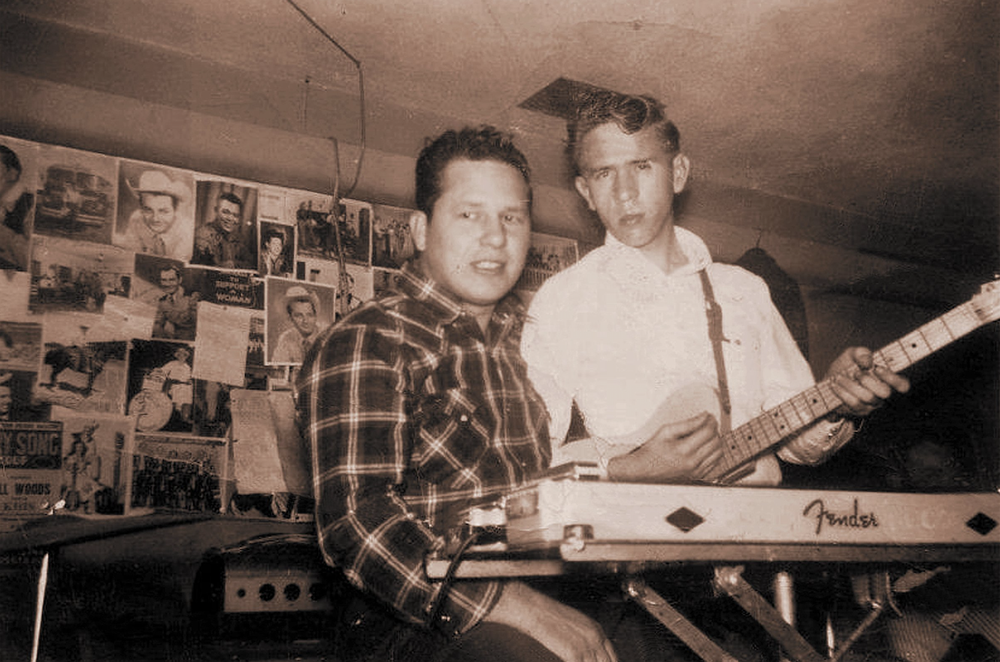 Bill Woods (left) was a bandleader who hired Buck Owens for his group. Woods has been credited as one of the creators of the Bakersfield sound. (Courtesy Bear Family Records)