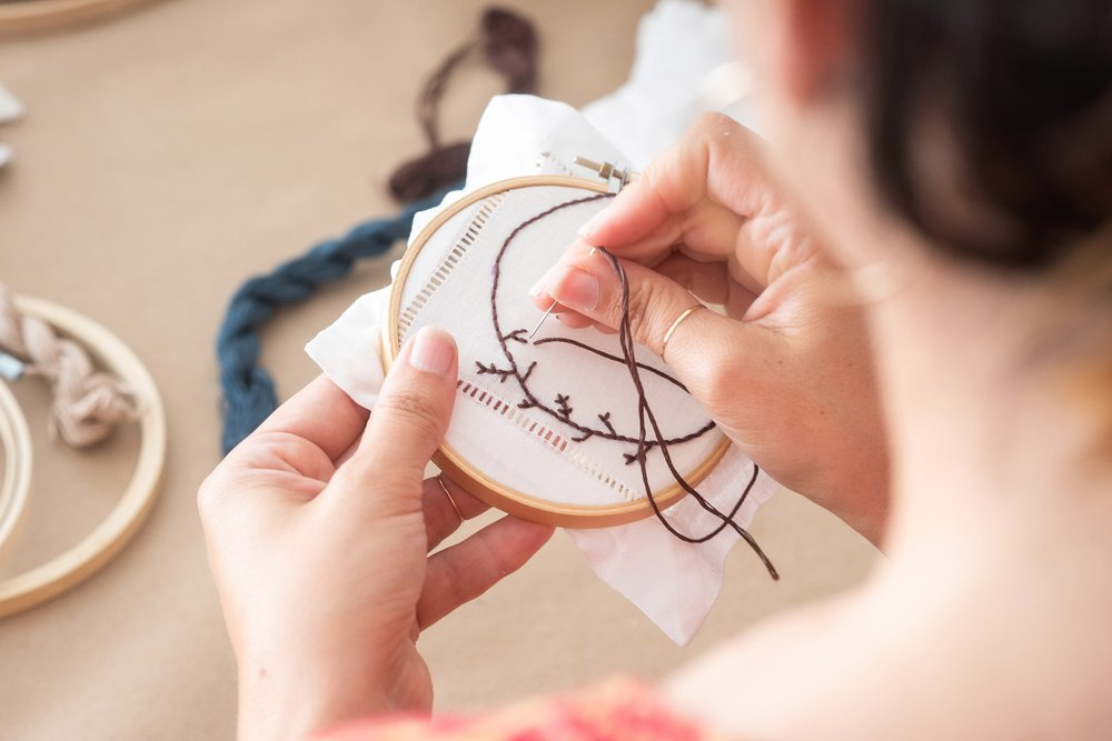Visitors can try hoop embroidery at Makers Mess in Los Angeles. MUST CREDIT: Makers Mess handout photo