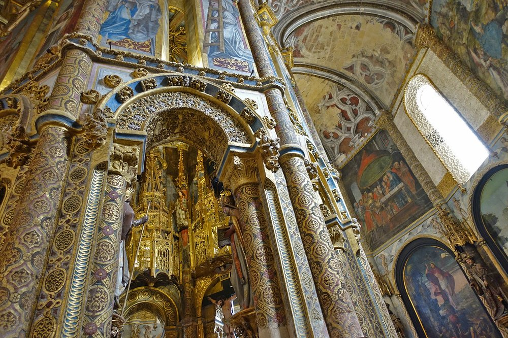 The church inside Tomar's Convento de Cristo, designed at the height of Portugal's sea power, is covered with elaborate motifs. (Photo by Rick Steves via Rick Steves' Europe)