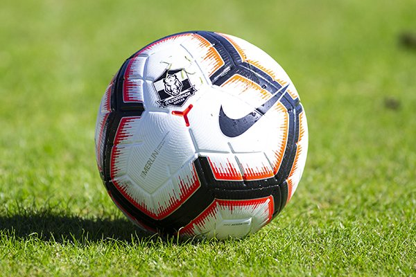 A soccer ball sits on the field prior to a game between Arkansas and Georgia on Sunday, Oct. 27, 2019, in Fayetteville.
