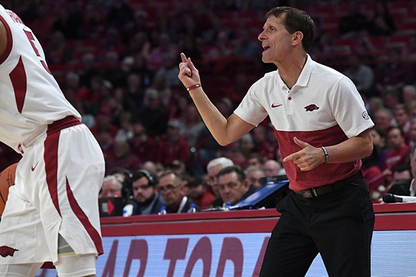 Arkansas coach Eric Musselman is shown during a game against Rice on Tuesday, Nov. 5, 2019, in Fayetteville.