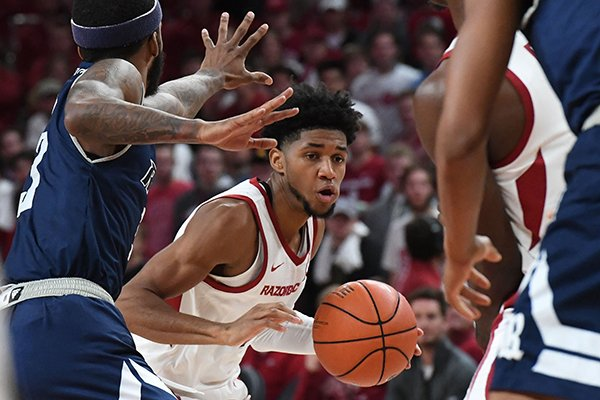 Arkansas guard Isaiah Joe (1) drives with the ball during a game against Rice on Tuesday, Nov. 5, 2019, in Fayetteville.