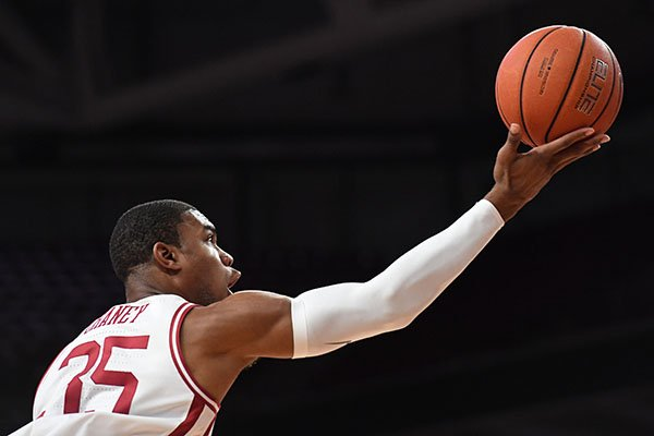 Arkansas forward Reggie Chaney is shown during an exhibition game against Arkansas-Little Rock on Sunday, Oct. 20, 2019, in Fayetteville.