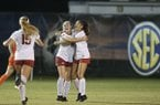 Arkansas' Anna Podojil (16) celebrates after scoring a goal during a Southeastern Conference Tournament game against Florida on Thursday, Nov. 7, 2019, in Orange Beach, Ala.