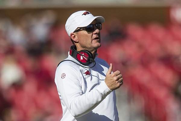 Arkansas coach Chad Morris is shown during a game against Western Kentucky on Saturday, Nov. 9, 2019, in Fayetteville.