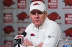 Chad Morris, Arkansas head coach, speaks during the post game press conference following the loss to Western Kentucky Saturday, Nov. 9, 2019, at Reynolds Razorback Stadium in Fayetteville.