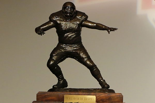 The Burlsworth Trophy is shown on Monday, Dec. 8, 2014, during the Burlsworth Trophy presentation at Northwest Arkansas Convention Center in Springdale.