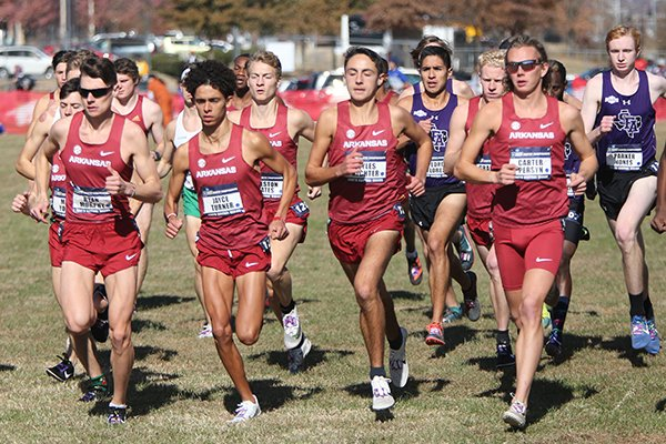 Arkansas runners are shown at the starting line during the NCAA South Regional on Friday, Nov. 15, 2019, at Agri Park in Fayetteville.