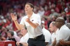 Arkansas coach Eric Musselman directs his players Saturday, Nov. 16, 2019, during the second half of play against Montana in Bud Walton Arena in Fayetteville.