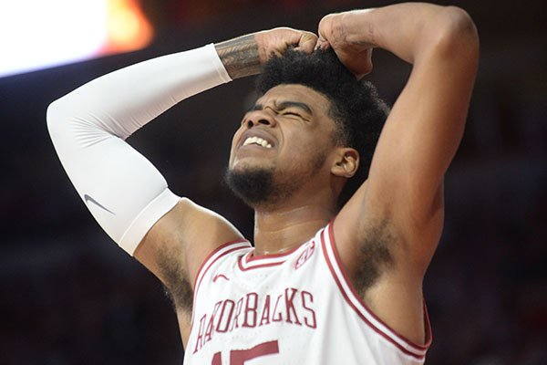 Arkansas guard Mason Jones reacts to a call during a game against Montana on Saturday, Nov. 16, 2019, in Fayetteville.