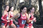 Arkansas runners Taylor Werner (front left), Katie Izzo (front right), Devin Clark (back left) and Carina Viljoen (back right) are shown during the NCAA South Regional cross country meet on Friday, Nov. 15, 2019, in Fayetteville.