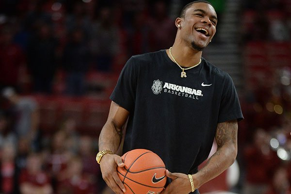 Arkansas forward Reggie Chaney is shown prior to a game against Montana on Saturday, Nov. 16, 2019, in Fayetteville. Chaney, a sophomore, missed the first three games this season while serving a suspension for an undisclosed violation of team rules.