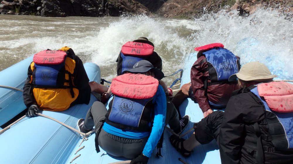 Only the brave or the overheated volunteered to sit in the front of the raft during the big rapids. A rafting trip through the Grand Canyon is a bucket-list item for many and involves six days of navigating the Colorado River. (Photo by Doug Hansen via TNS)