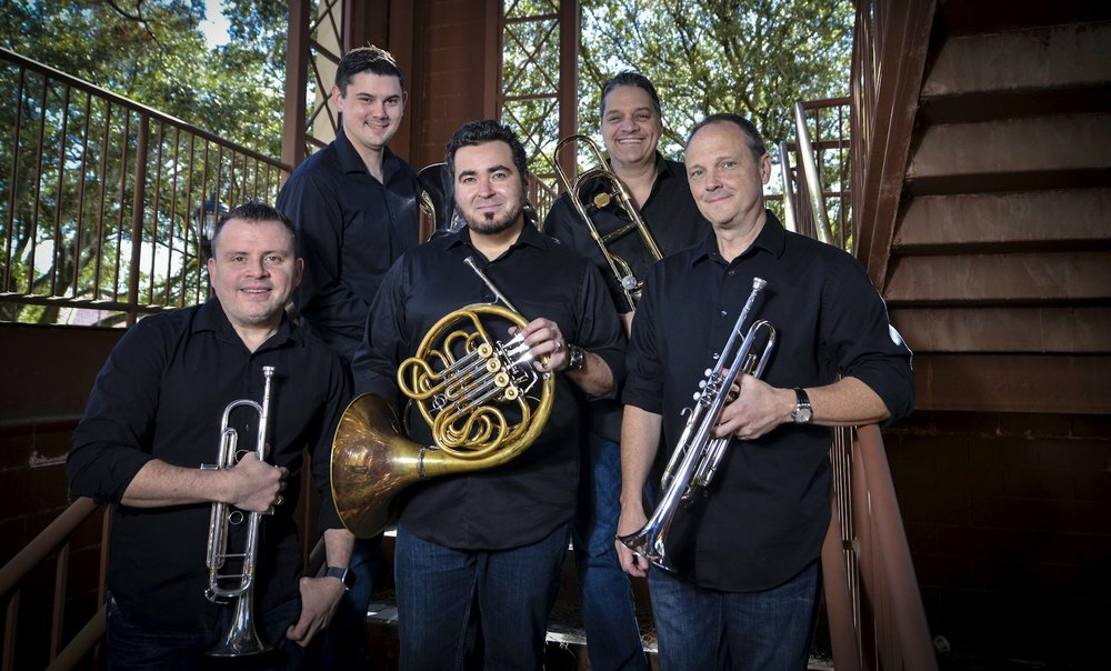 Boston Brass -- (from left) Jose Sibaja, trumpet; William Russell, tuba; Chris Castellaanos, French horn; Domingo Pagliuca, trombone; and Jeff Conner, trumpet. Special to the Democrat-Gazette