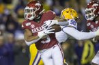 Arkansas running back Rakeem Boyd carries the ball during a game against LSU on Saturday, Nov. 23, 2019, in Baton Rouge, La.