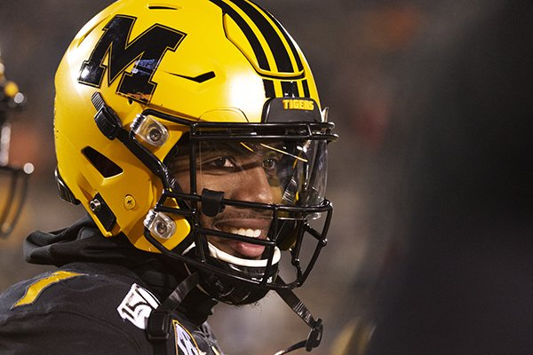 Missouri quarterback Kelly Bryant warms up before the start of an NCAA college football game against Tennessee Saturday, Nov. 23, 2019, in Columbia, Mo. (AP Photo/L.G. Patterson)