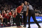 Arkansas head coach Eric Musselman speaks to the referees in the first half of an NCAA college basketball game against Georgia Tech Monday, Nov. 25, 2019, in Atlanta. Arkansas won 62-61. (AP Photo/Danny Karnik)
