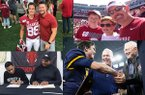 Clockwise, left to right: John David White and John Aaron Rees; Hudson, Hayden and Mark Henry; John Stephen, Stephen and Jerry Jones; and Zach and Rickey Williams are part of legacy families to play football at Arkansas.